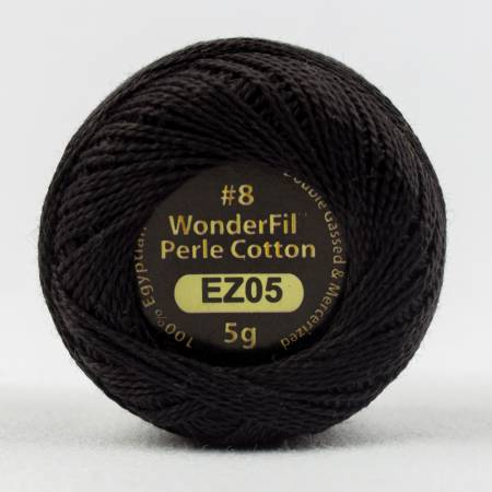 Eleganza 8wt 5-Gram Solid Perle Cotton Ball 42yd Black Tie