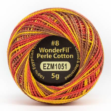 Eleganza 8wt 5-Gram Variegated Perle Cotton Ball 42yd Fire Breather