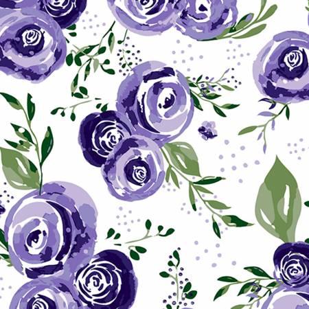 Eggplant Rosette Embrace Double Gauze Print