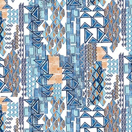 Cobalt Tribal Embrace Double Gauze Cotton