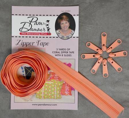 3 yards of Reversible Coil Zipper Tape with 8 Slides Coral ENR/C