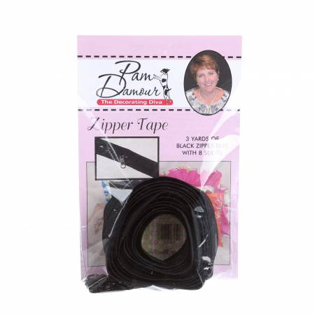 3 yards of Reversible Coil Zipper Tape with 8 Slides Black