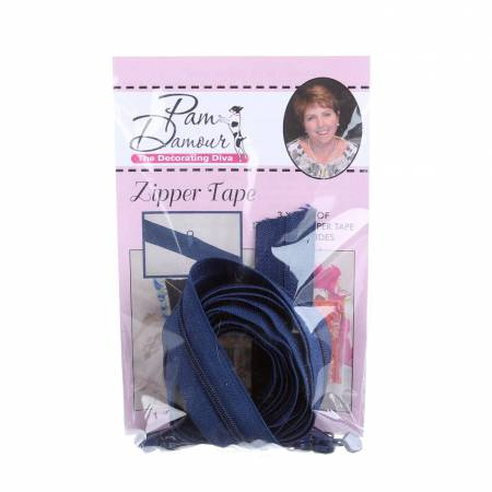 3 yards of Reversible Coil Zipper Tape with 8 Slides Navy