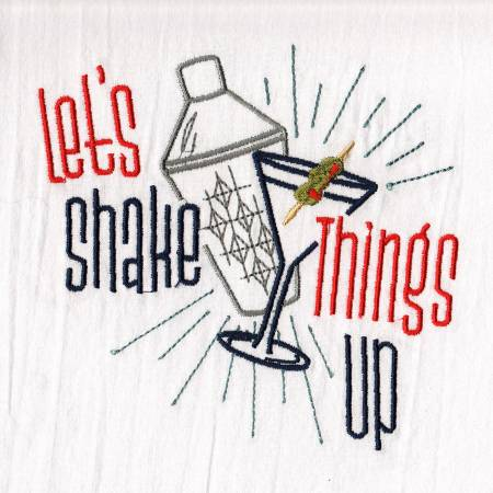 Shake Things Up Embroidered Dish Towel