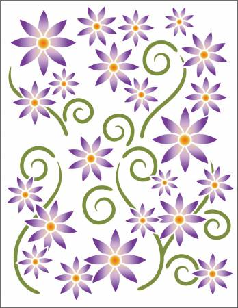 Gift- Decorative Decals Asters Violet