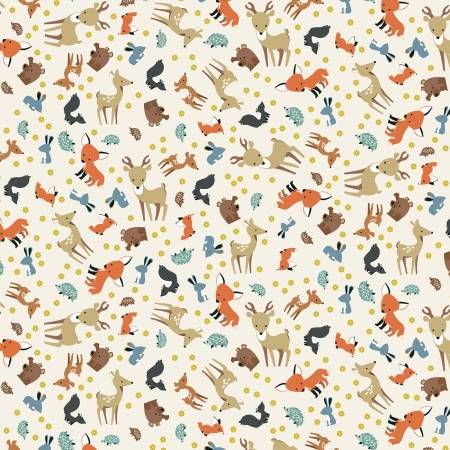 Riley Blake Woodland Flannel F10631 Animal Toss Parchment