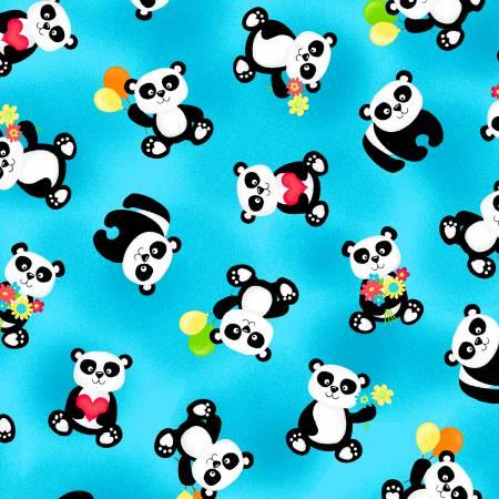 Tossed Panda Bears Aqua Flannel