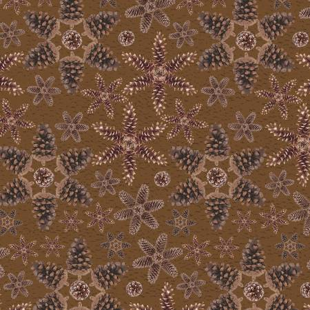 Brown Pinecones Snowflakes on Flannel F1340