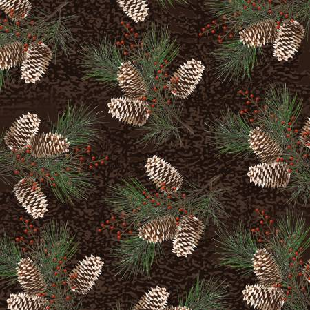 Brown Branches with Pinecones on Flannel