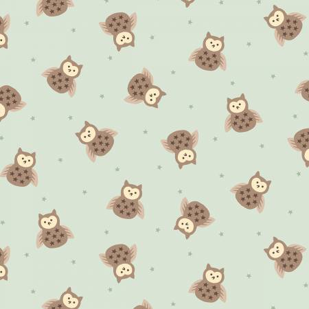 Bumble Garden Aqua Tossed Owls Flannel 1400 11