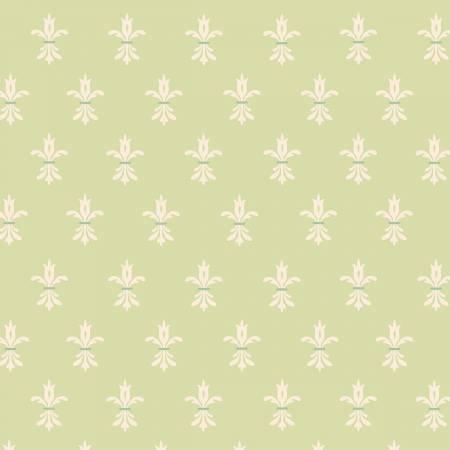 Bumble Garden F1403 66 Green Fleur de Lis Flannel