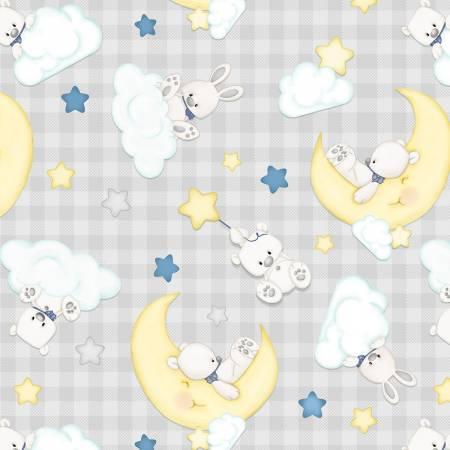 Sleepy Bear Grey Tossed Animals Check  Flannel