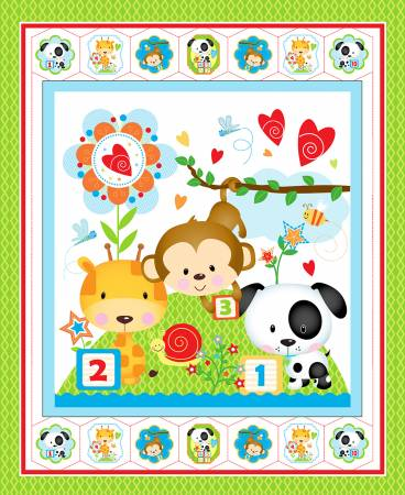 Multi Puppy & Pals Flannel Panel 36in