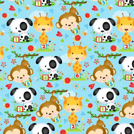 Blue Puppy & Pals Characters Flannel