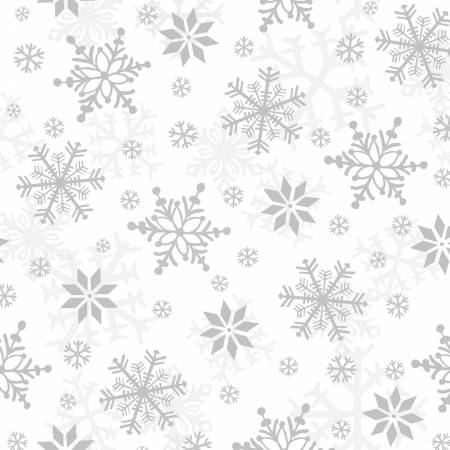 White/Grey Snowflakes Flannel
