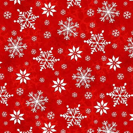 Winter Whimsy Red Snowflakes Flannel