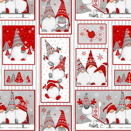 Winter WimsyRed Gnomes Patch Allover Flannel