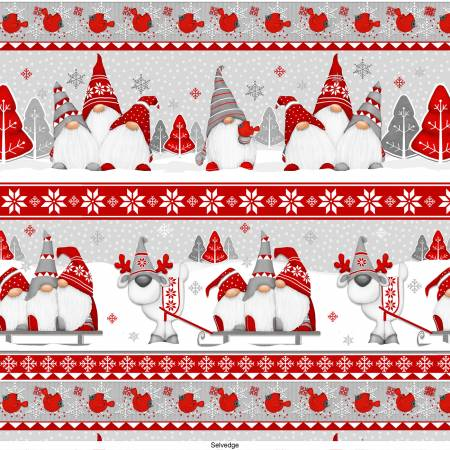 Winter Whimsy Red/Grey Novelty Stripes Gnomes Flannel