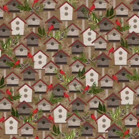 Brown Birdhouses Flannel