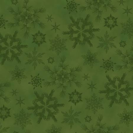 Green Snowflakes Flannel