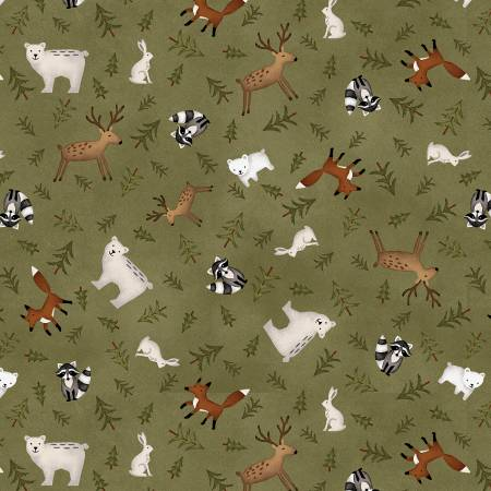 Forest Animal Toss on Flannel