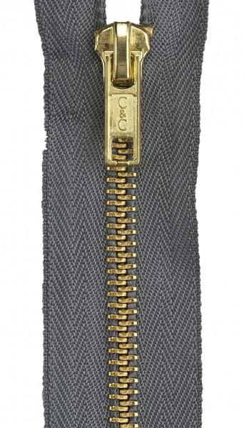 Heavy Weight Brass 1-Way Separating Zipper 18in Slate