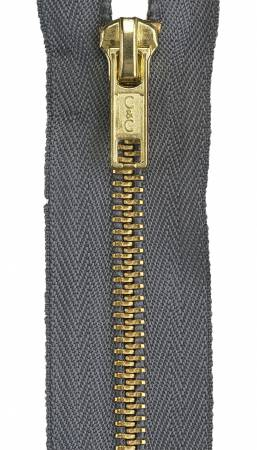 Heavy Weight Brass 1-Way Separating Zipper 20in Slate