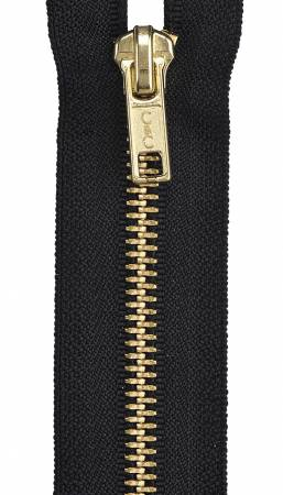 Heavy Weight Brass 1-Way Separating Zipper 20in Black