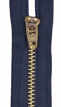 Metal Jean Zipper 6in Navy