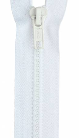 Sport Polyester 1-Way Separating Zipper 28in White