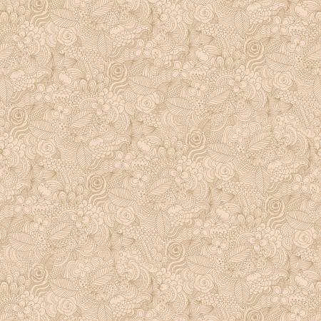 Beige Paisley Floral 2-ply Flannel 108in Wide Back