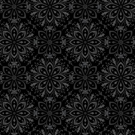 Black Large Medallion 2-ply Flannel 108in Wide Back