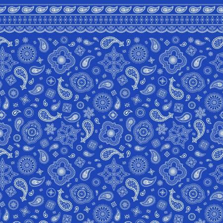Riley Blake Designs Cowgirl & Cowboy Bandana Blue In Flannel