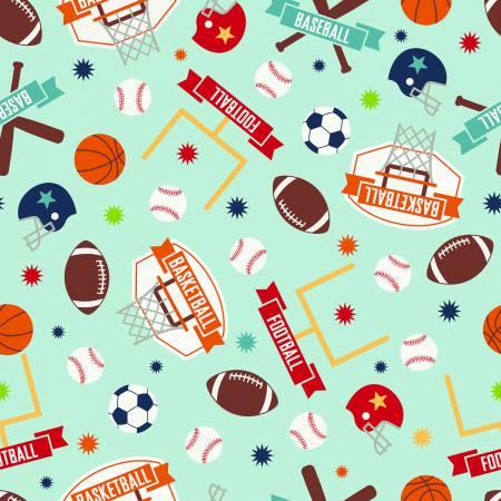 Riley Blake Designs Game Day Sports Aqua In Flannel