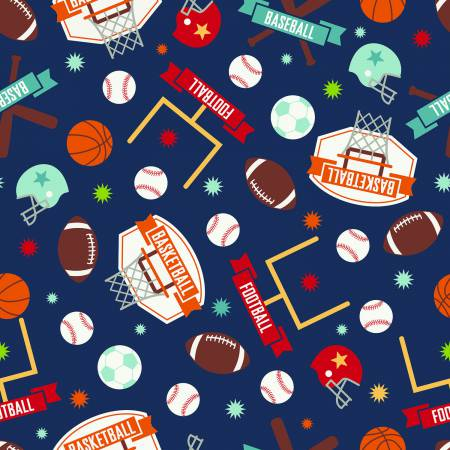Riley Blake Designs Game Day Sports Navy In Flannel