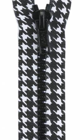 Closed End Zipper 9in Black and White Houndstooth