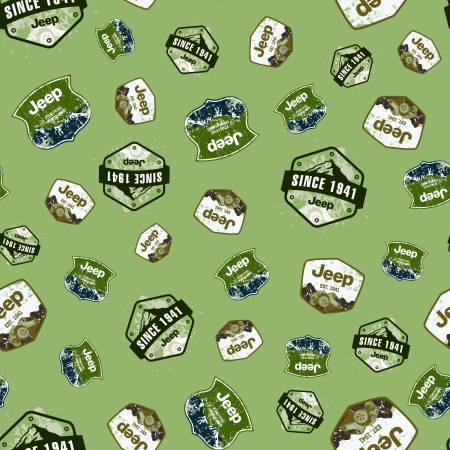 Jeep Brand Badges Green Flannel by Riley Blake