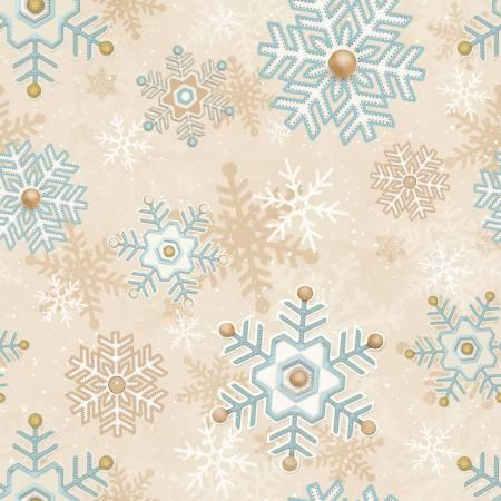 Henry Glass & Co. Cream Snowflakes Flannel