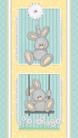 :Blue Bunny Panel Flannel F6892P