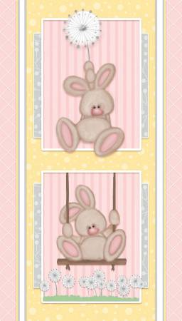 :Pink Bunny Panel Flannel F6892P