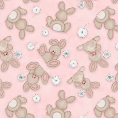 Pink Tossed Bunnies Flannel