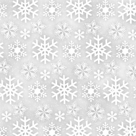 2567 Grey Snowflakes Flannel