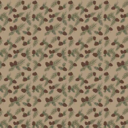 CABIN PINECONES FLANNEL TAN