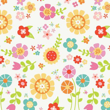 BLOOM MAIN FLANNEL WHITE Summer Flowers