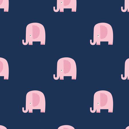 Flannel Basics Elephant Navy Flannel