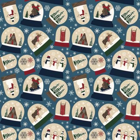 Riley Blake Designer Flannel Let It Snow Snowglobes on Blue by Echo Park Paper Co