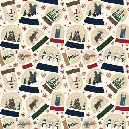 Riley Blake Designer Flannel Let It Snow Snowglobes on Cream