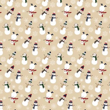 Riley Blake Designer Flannel Let It Snow Snowman on Tan by Echo Park Paper Co