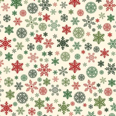 Designer Flannel, Christmas Snowflakes Cream