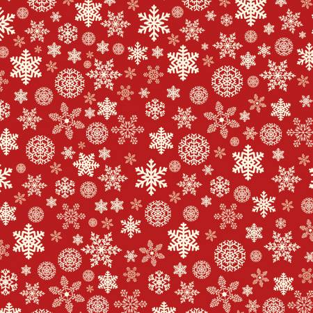 Designer Flannel Christmas Snowflakes Red